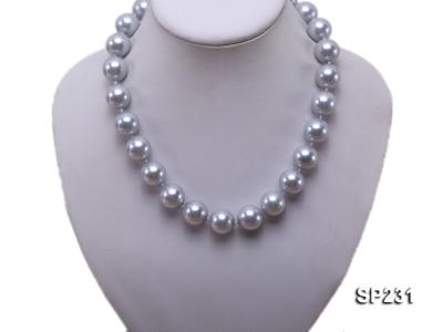 16mm lustrous grey round seashell pearl necklace SP231 Image 5