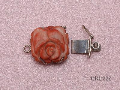 18x20mm Single-Row Sterling Silver Coral Flower Clasp CRC009 Image 2