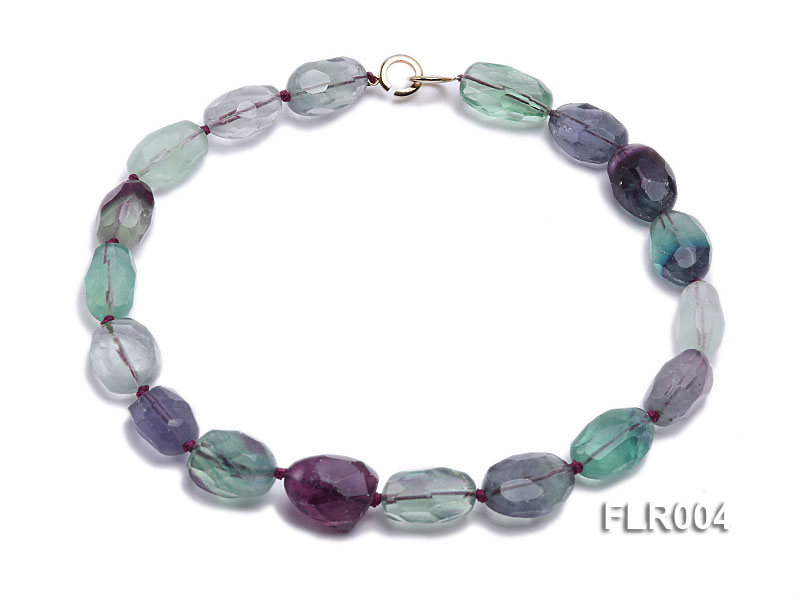 16x25mm Oval Fluorite Beads Necklace big Image 1