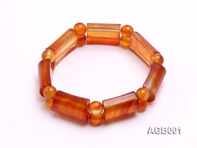 14x22mm red round and semicircle shaped agate Bracelet AGB001 Image 2