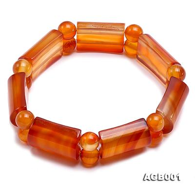14x22mm red round and semicircle shaped agate Bracelet AGB001 Image 1