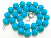 15mm blue round faceted Turquoise Necklace TQN004