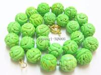 15-16mm light green round faceted Turquoise Necklace TQN005
