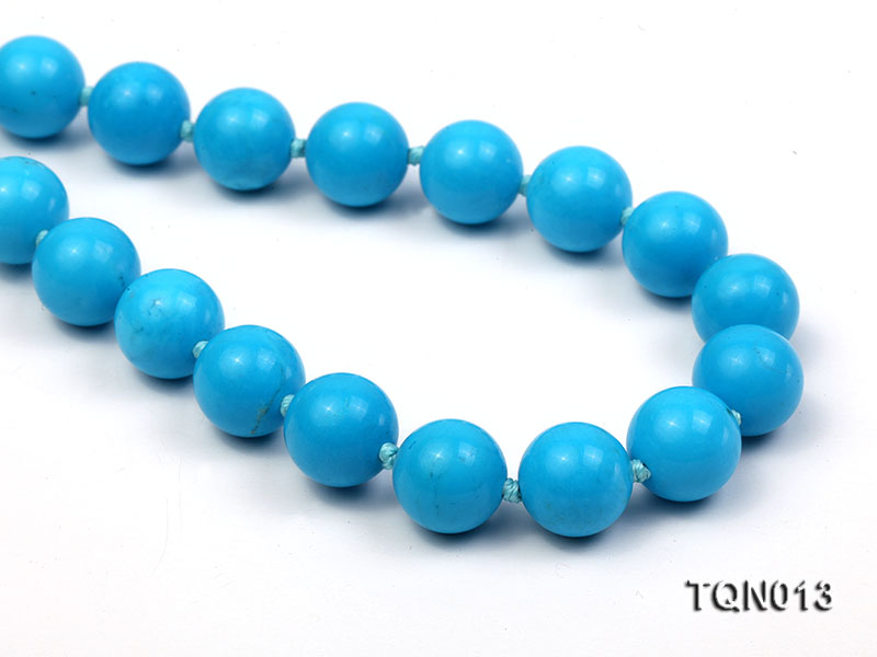 12mm vibrant blue round Turquoise Necklace big Image 1