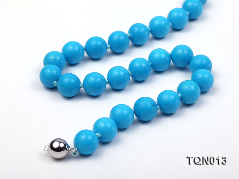 12mm vibrant blue round Turquoise Necklace big Image 2