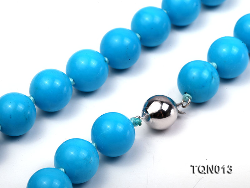12mm vibrant blue round Turquoise Necklace big Image 3
