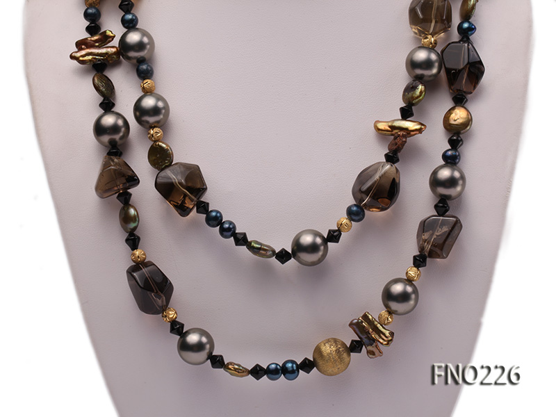 11*14mm coin freshwater pearl with carved smoky quartz opera necklace big Image 2