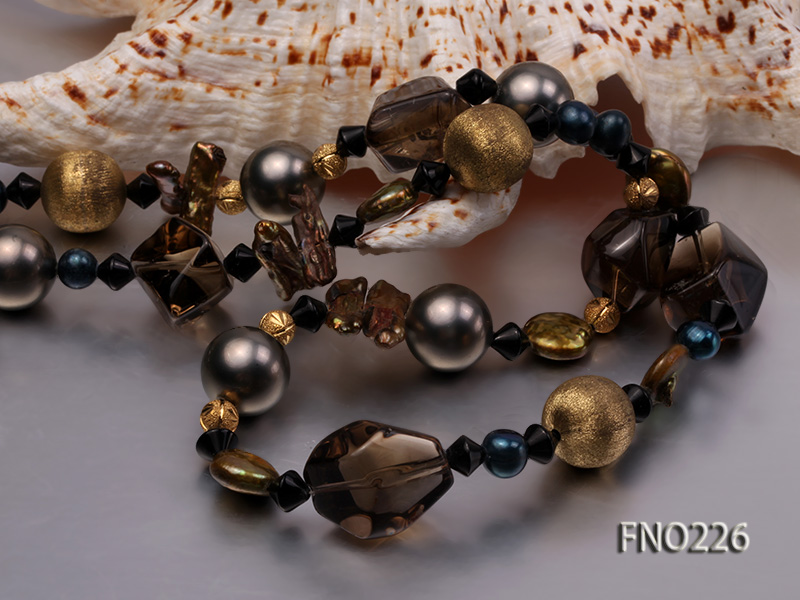 11*14mm coin freshwater pearl with carved smoky quartz opera necklace big Image 4