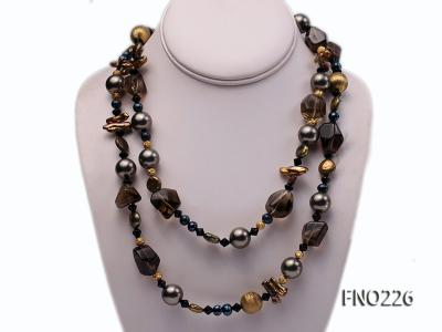 11*14mm coin freshwater pearl with carved smoky quartz opera necklace FNO226 Image 1