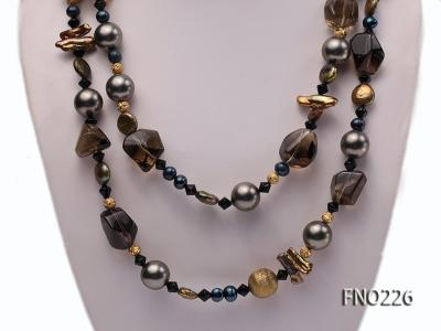 11*14mm coin freshwater pearl with carved smoky quartz opera necklace FNO226 Image 2