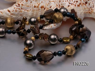 11*14mm coin freshwater pearl with carved smoky quartz opera necklace FNO226 Image 4