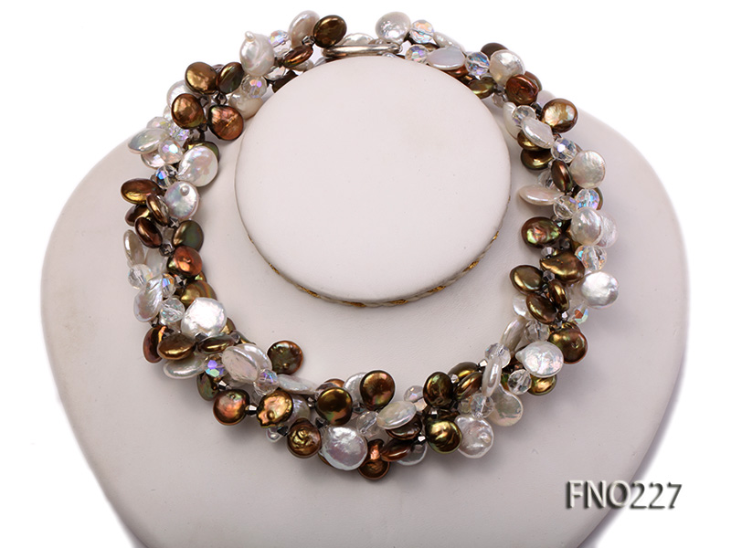 11*14mm white and brown coin freshwater pearl with crystal opera necklace big Image 1