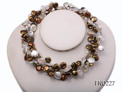 11*14mm white and brown coin freshwater pearl with crystal opera necklace FNO227 Image 1
