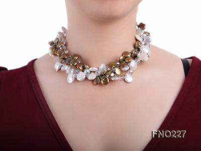 11*14mm white and brown coin freshwater pearl with crystal opera necklace FNO227 Image 6