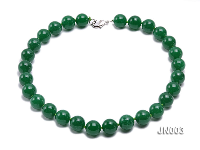 14mm Round Green Malay Jade Necklace big Image 1