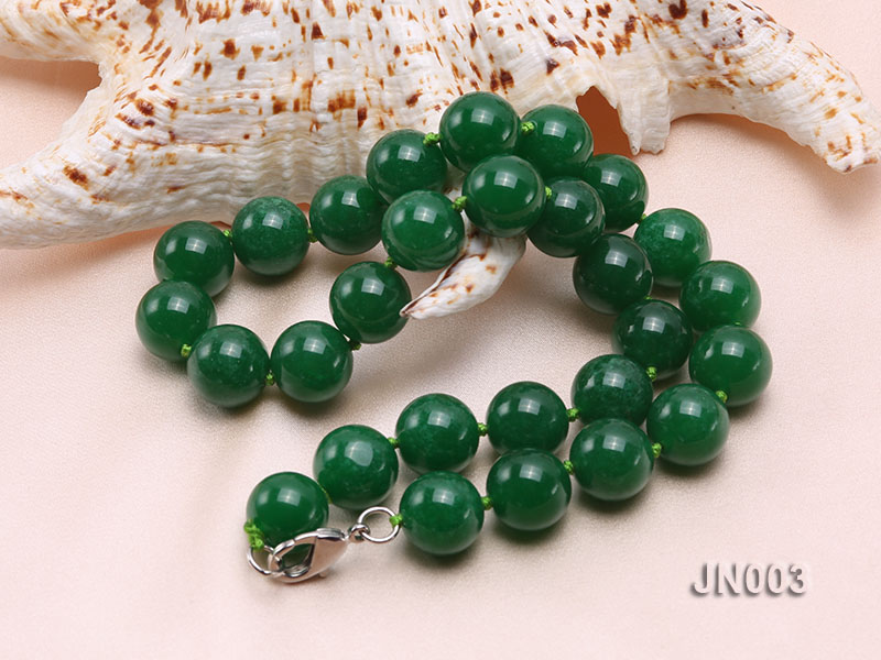 14mm Round Green Malay Jade Necklace big Image 2