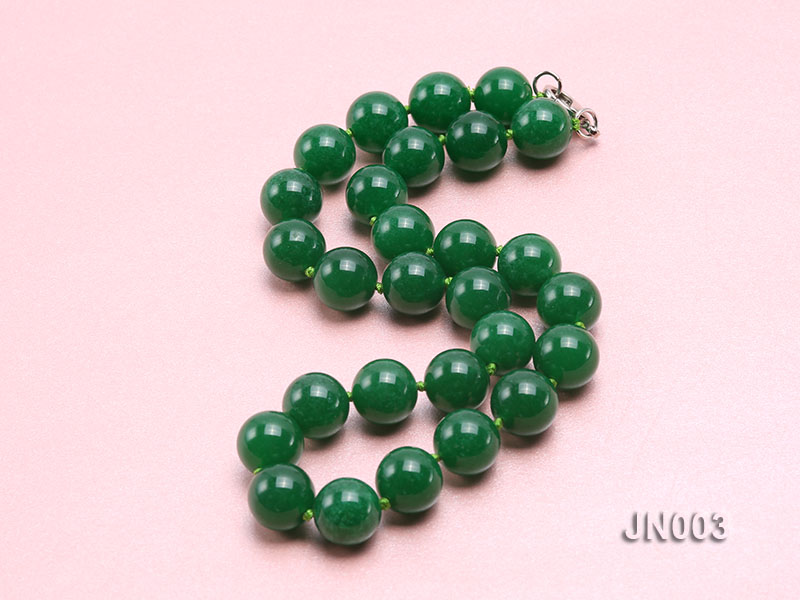 14mm Round Green Malay Jade Necklace big Image 3