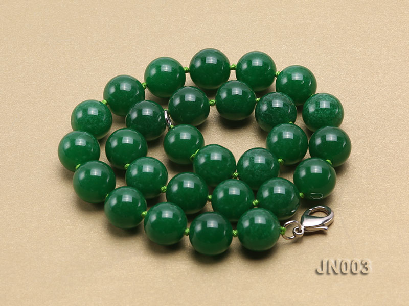 14mm Round Green Malay Jade Necklace big Image 4