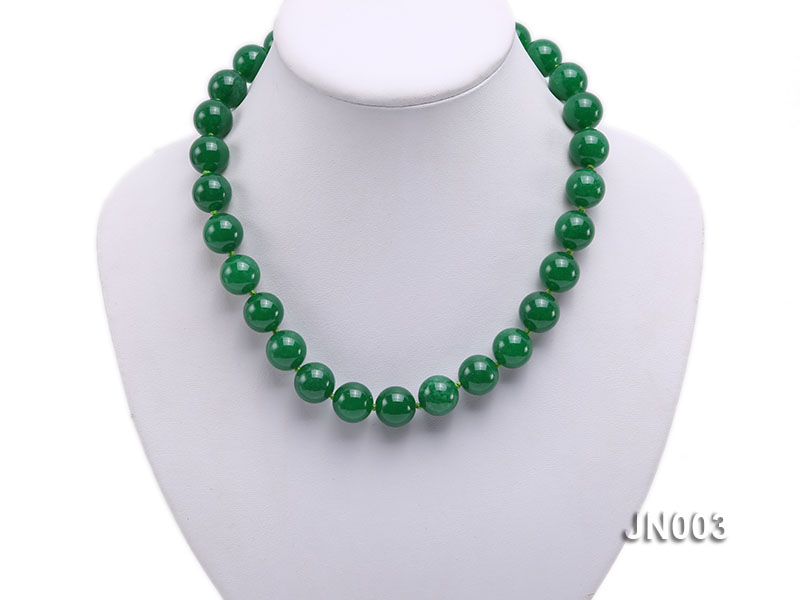14mm Round Green Malay Jade Necklace big Image 5