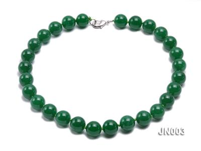 14mm Round Green Malay Jade Necklace JN003 Image 1