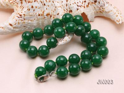 14mm Round Green Malay Jade Necklace JN003 Image 2