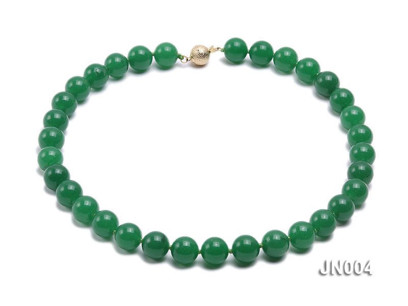 12mm Round Green Malay Jade Necklace big Image 1