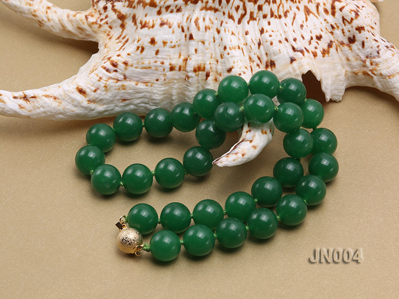 12mm Round Green Malay Jade Necklace big Image 3