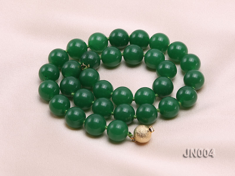 12mm Round Green Malay Jade Necklace big Image 4