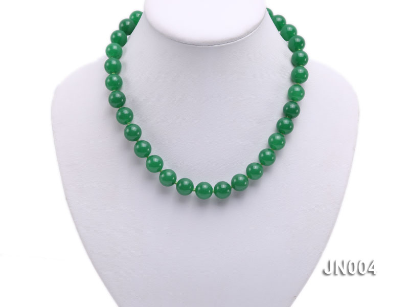 12mm Round Green Malay Jade Necklace big Image 5
