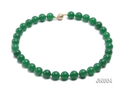 12mm Round Green Malay Jade Necklace JN004 Image 1