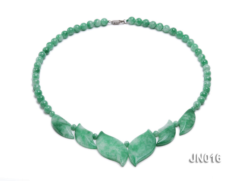 6.5mm Round Light Green and Leafy Korean Jade Necklace big Image 1