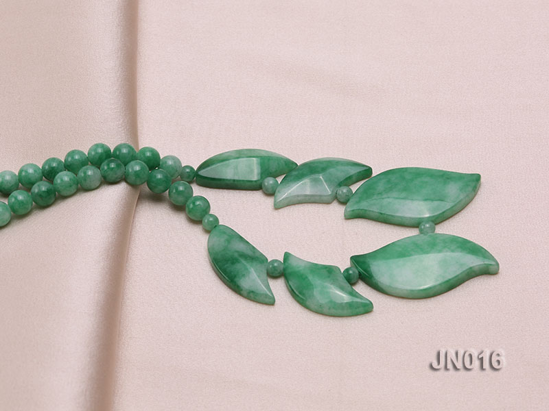 6.5mm Round Light Green and Leafy Korean Jade Necklace big Image 2