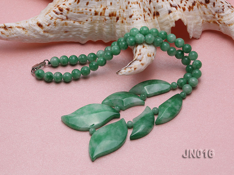 6.5mm Round Light Green and Leafy Korean Jade Necklace big Image 3