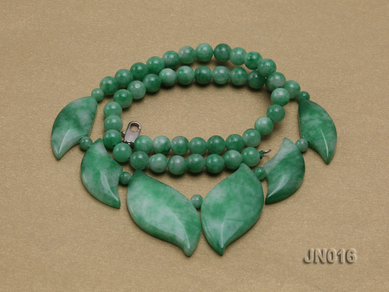 6.5mm Round Light Green and Leafy Korean Jade Necklace big Image 4