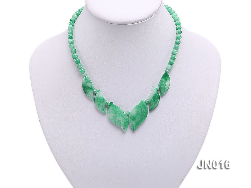 6.5mm Round Light Green and Leafy Korean Jade Necklace big Image 5