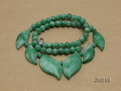 6.5mm Round Light Green and Leafy Korean Jade Necklace JN016 Image 4