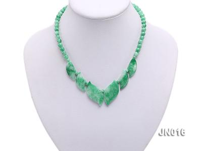 6.5mm Round Light Green and Leafy Korean Jade Necklace JN016 Image 5