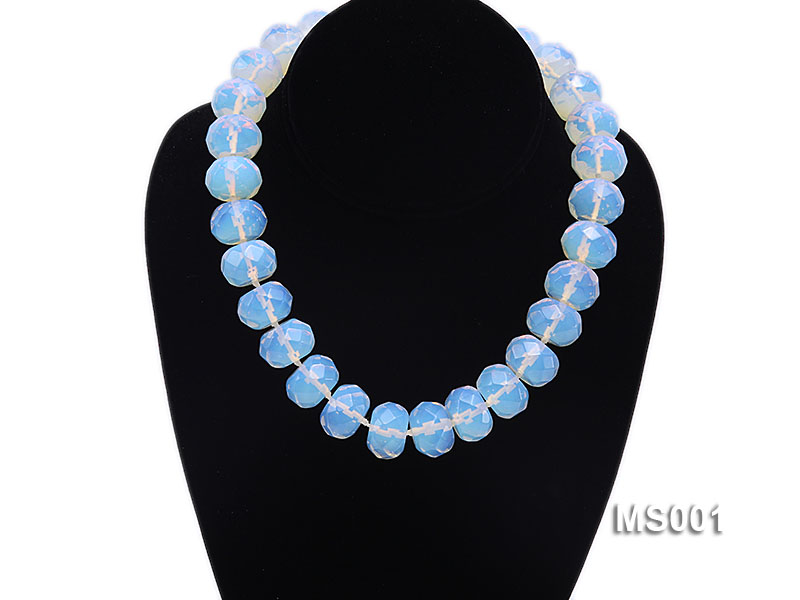 14x20mm Flat Opalescent Moonstone Beads Necklace big Image 6