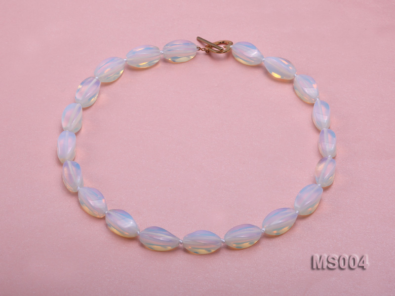 10x19mm Oval Opalescent Moonstone Beads Necklace big Image 1