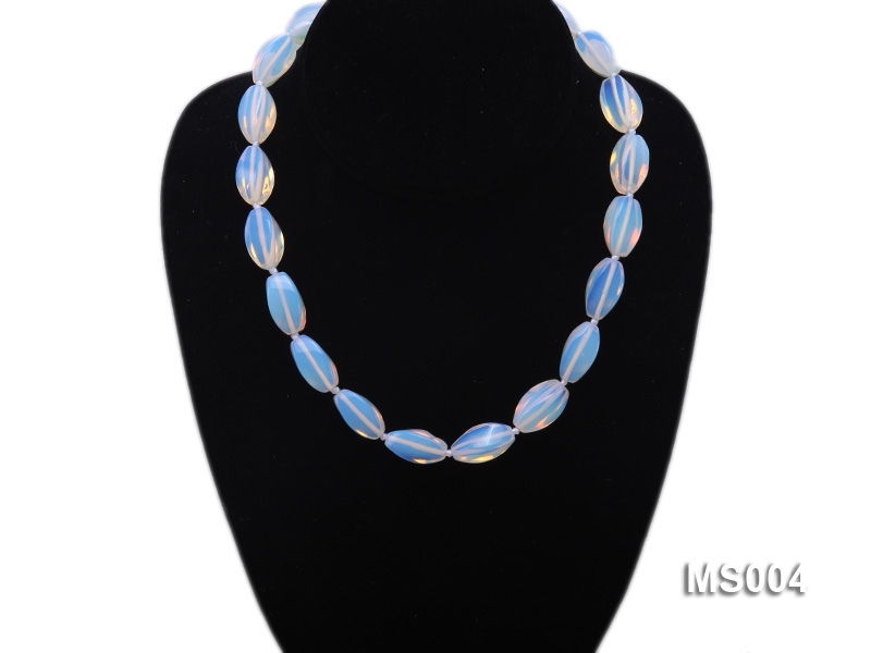 10x19mm Oval Opalescent Moonstone Beads Necklace big Image 3