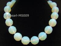 19mm Round Opalescent Faceted Moonstone Beads Necklace MS009