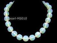 16mm Round Opalescent Faceted Moonstone Beads Necklace MS010