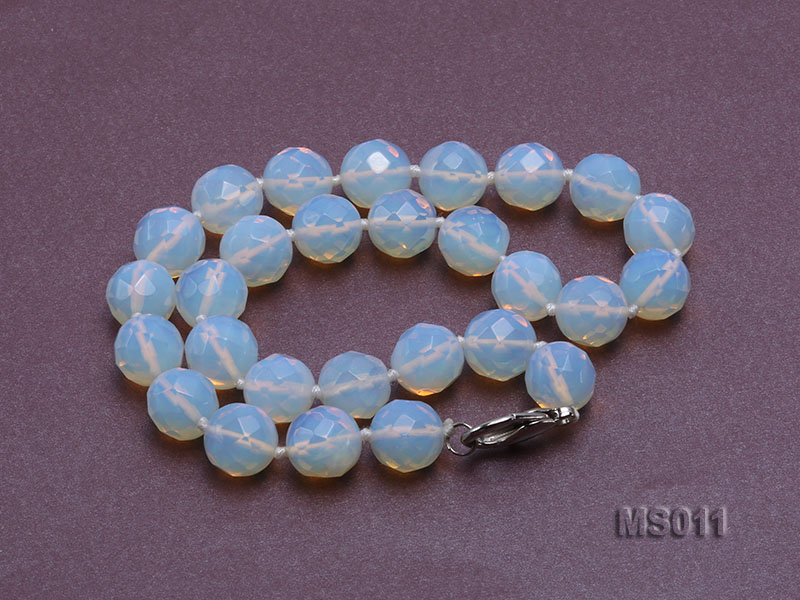 13mm Round Opalescent Faceted Moonstone Beads Necklace big Image 2