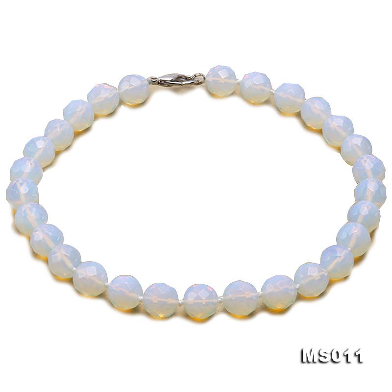 13mm Round Opalescent Faceted Moonstone Beads Necklace big Image 1