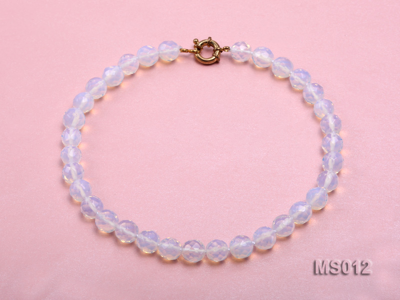 10mm Round Opalescent Faceted Moonstone Beads Necklace big Image 1