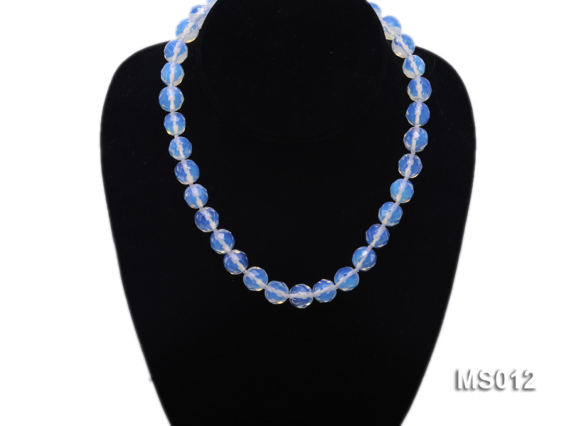 10mm Round Opalescent Faceted Moonstone Beads Necklace big Image 5