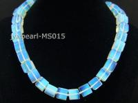 12x12mm Square Opalescent Moonstone Beads Necklace MS015