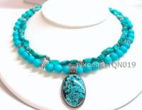 8mm blue round Turquoise Necklace with turquoise pandent TQN019