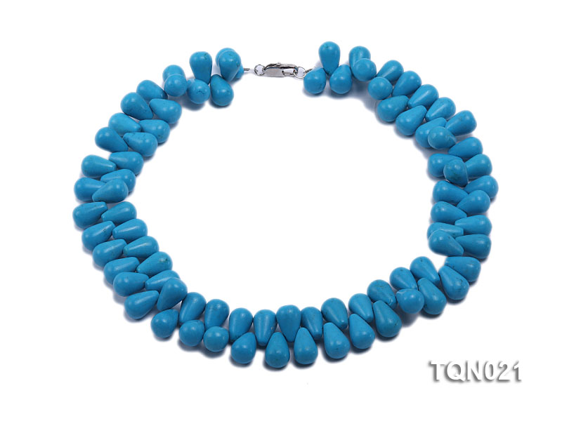 double-strand 12x18mm blue drop shape Turquoise Necklace big Image 1