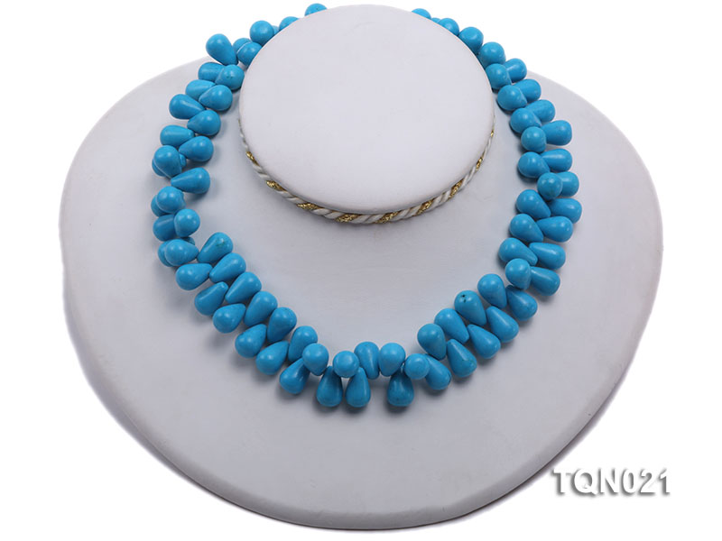 double-strand 12x18mm blue drop shape Turquoise Necklace big Image 2